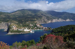 View from castle in assos, kefalonia, greece. View from uphill, near the castle of assos, kefalonia, greece Stock Image