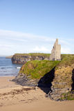 View of the castle beach and cliffs in Ballybunion Royalty Free Stock Images