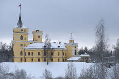 View of the castle BIP gloomy December day. Pavlovsk Royalty Free Stock Photos