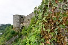 View on the castle of Bouillon in the Belgian Ardennes Royalty Free Stock Photos
