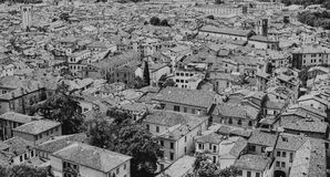 View from the castle Brescia Citadela on old town, black and whi Royalty Free Stock Images