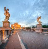 View Castle and Bridge of the Holy Angel in Rome Royalty Free Stock Image