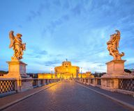 View Castle and Bridge of the Holy Angel in Rome Stock Images