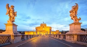 View Castle and Bridge of the Holy Angel in Rome Royalty Free Stock Photography