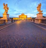 View Castle and Bridge of the Holy Angel in Rome Royalty Free Stock Images