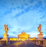 View Castle and Bridge of the Holy Angel in Rome Royalty Free Stock Photo