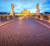 View Castle and Bridge of the Holy Angel in Rome Royalty Free Stock Photos