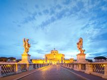 View Castle and Bridge of the Holy Angel in Rome Stock Image