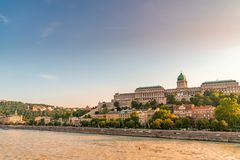 View on the Castle of Budapest during sunset royalty free stock photo