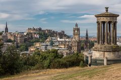 View of the castle from Calton Hill Royalty Free Stock Photos