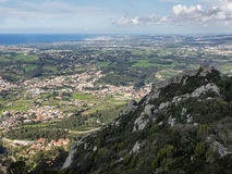 View of the castle Castelo dos Mouros and the cultural landscape of Sintra, Portugal. Aerial view of the ruin Castelo dos Mouros and the landscape near Sintra Stock Photography