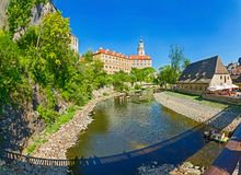 View on Castle in Cesky Krumlov Stock Photo