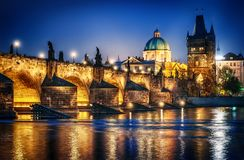 View of the castle and the Charles bridge.  Prague Czech Republic. Royalty Free Stock Image