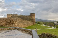 View of the castle of the town of El Barco. Castilla la Mancha. Spain. View of the castle of the city of El Barco or Valdecorneja castle built in the 12th Royalty Free Stock Photo