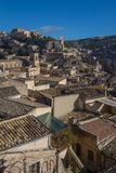 View of the castle and clock tower in the centre of Modica. Sicily, Italy Royalty Free Stock Photography