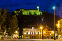 View of Castle and Congress square in Ljubljana, Slovenia Royalty Free Stock Photos