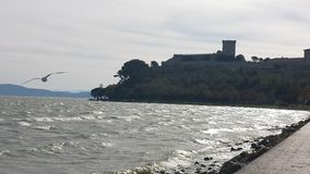 View of a castle. From the dock on the lakeshore to & x22;lake castiglion& x22; and a bird flying off the lake Stock Photos