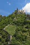 A view of castle Duernstein in Austria. In the foreground a wall and vineyards can be seen Royalty Free Stock Photos