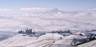 View of the Castle of Grinzane Cavour in winter with snow Royalty Free Stock Photos