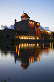 View of the Castle Herman july night. Narva Royalty Free Stock Photo