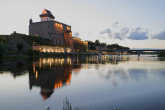 View of Castle Herman white summer night. Narva Royalty Free Stock Photography
