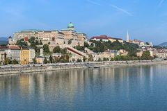 View on Castle Hill from Elisabeth Bridge in Budapest, Hungary Royalty Free Stock Images