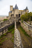 View of castle from Hotel De La Cite, carcassonne, France. Carcassonne castle viewed from the prestigious Hotel De La Cite Royalty Free Stock Photos