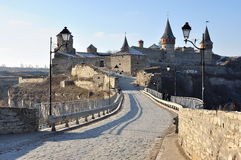 View of the castle Kamyanets-Podilsky Stock Photo