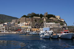 A view of the castle of Lipari. Fortification of Lipari in the Aeolian islands Stock Photos