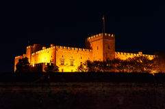View of the castle masters, the main Rhodes the night summer. View of the castle masters, the main castle of Rhodes the night summer stock photos