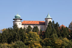 View on castle Nowy Wisnicz in Poland on a background of blue sky Royalty Free Stock Photos