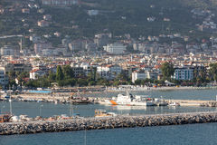 The view from the castle on the old port. Alanya Stock Image