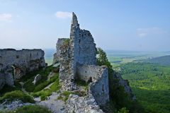 The view on castle Ostry Kamen Stock Photos