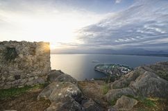 View from castle Palamidi. Panoramic view of the sunset from fortress Palamidi in Nafplion stock photos