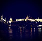 View of the Castle in Prague at night. Royalty Free Stock Photo