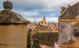 View from the castle. The priviledged view of the medieval castle of Segovia, directly facing the historic center of Segovia Stock Photography