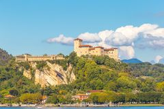 Castle Angera lake maggiore Lombardy, italy. View of Castle and Rocca of Angera in front of Arona, on Lake Maggiore, Lombardy, Italy Stock Photos