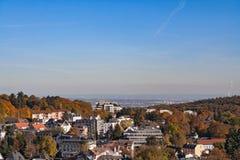 View from the castle ruin Koenigstein to the autumnal Rhein-Main-Ebene, Hesse, Germany Stock Photos