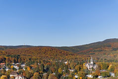 View from the castle ruin Koenigstein to the autumnal Taunus, Germany Stock Photo