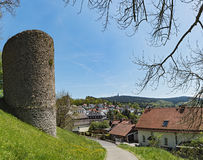 View from the castle ruin of Reifenberg to the community of Oberreifenberg and the Great Feldberg in the Taunus, Germany Royalty Free Stock Photos