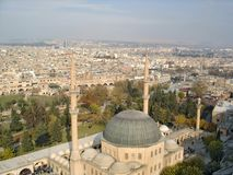 The skyline of Urfa with Mevlid-i Halil Mosque in the foreground royalty free stock photography