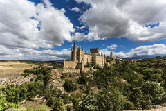 View of castle in Segovia, Spain. View of the most beautiful castle in Spain. Alcazar of Segovia stock photos