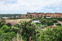 view of Castle of Silves from rural gardens Royalty Free Stock Photography
