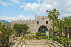 View of castle and small garden from inside Royalty Free Stock Image