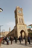 VIEW OF THE CASTLE SQUARE OF ARBIL. ARBIL, IRAQ – MARCH 16:  A view historical clock tower in Castle Square of Arbil in Iraq, March 16, 2013 Stock Photography