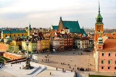 View on Castle Square, Royal Castle, Zygmunt Column and Old Town in Warsaw. Empty Castle square during sunny day Stock Photo