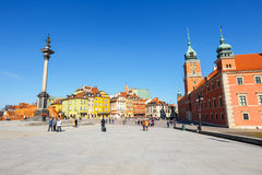 View of Castle Square with Sigismund column in the Old Town in Warsaw, Poland Stock Images