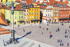 View of Castle Square with Sigismund column in the Old Town in Warsaw, Poland Stock Photo