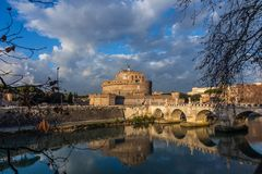 View of the Castle of St. Angel, round castle of the II century. With a collection of furniture and paintings in the Renaissance interiors, Rome, Italy royalty free stock photography