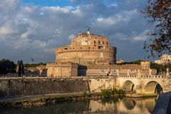 View of the Castle of St. Angel, round castle of the II century. With a collection of furniture and paintings in the Renaissance interiors, Rome, Italy stock images